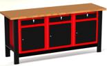 DOSTAWA GRATIS! 87871538 Stół warsztatowy z szafką, 3 szuflady, 3 drzwi - blat pokryty warstwą poliuretanu (wymiary: 1960x890x600 mm)