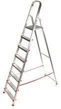 DOSTAWA GRATIS! 99674640 Drabina domowa 8 stopniowa, czerwona (wysokość robocza: 3,61m)