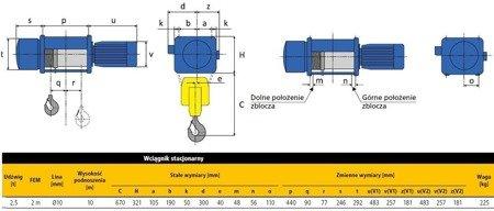 06074781 Wciągnik linowy elektryczny (uźwig:: 2000 kg, wysokość podnoszenia: 10m)