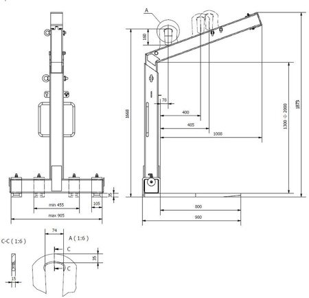 DOSTAWA GRATIS! 33969643 Zawiesie widłowe samopoziomujące (udźwig: 2 T, długość wideł: 800 mm)