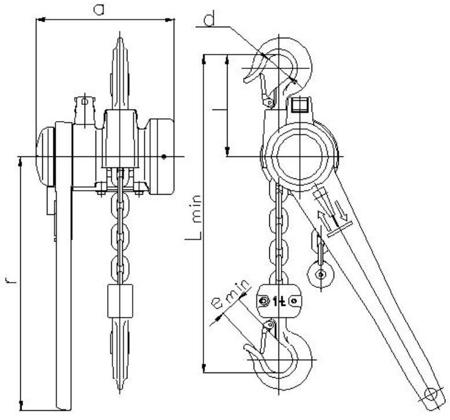 DOSTAWA GRATIS! 22021311 Wciągnik łańcuchowy dźwigniowy, rukcug z łańcuchem ogniwowym Z310/1.0t (wysokość podnoszenia: 3m, udźwig: 1 T)