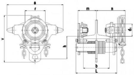 DOSTAWA GRATIS! 2203096 Wózek jedno-belkowy z napędem ręcznym Z420-B/1.0t/3m (wysokość podnoszenia: 3m, szerokość dwuteownika od: 50-220mm, udźwig: 1 T)
