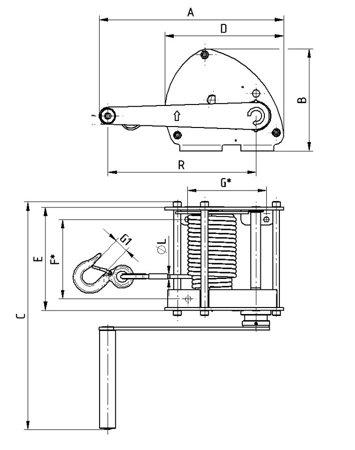 DOSTAWA GRATIS! 22039040 Wciągarka linowa LN/0.5t (bez liny, udźwig: 0,5 T)