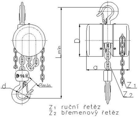 DOSTAWA GRATIS! 2209153 Wciągnik łańcuchowy z przekładnią planetarną Z100/1.0t (wysokość podnoszenia: 6m, udźwig: 1 T)