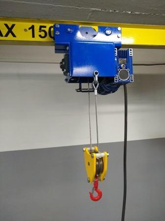 DOSTAWA GRATIS! 504711711 Wciągarka mobilna z wózkiem i wciągnikiem linowym elektrycznym (udźwig: 500 kg, wysokość całkowita: 4000mm, szerokość między podporami: 4800mm, wysokość podnoszenia: 3300mm)