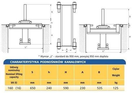 DOSTAWA GRATIS! 62725791 Podnośnik kanałowy - standardowy (udźwig: 16T)