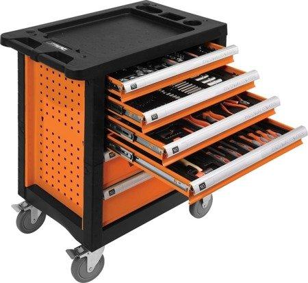 DOSTAWA GRATIS! 65669919 Wózek, szafka serwisowa z narzędziami, 6 szuflad, 302 narzędzia (wymiary: 77x46x90 cm)