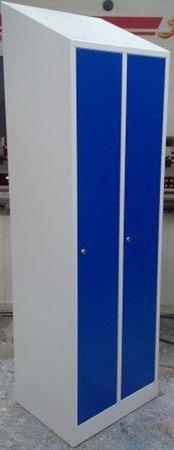 DOSTAWA GRATIS! 77170707 Szafa odzieżowa BHP z przegrodami i ze skośnym daszkiem, 2 drzwi (wymiary: 2000/1800x800x480 mm)
