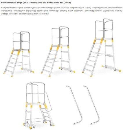DOSTAWA GRATIS! 99674601 Drabina magazynowa - mostek jednostronny Aloss (wysokość robocza: 2,87m)