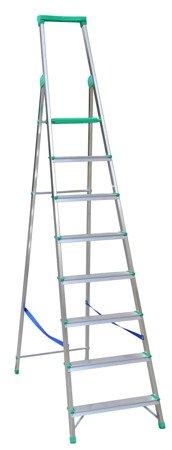 DOSTAWA GRATIS! 99674667 Drabina wolnostojąca Drabex 8 stopniowa z półką i haczykiem (wysokość robocza: 3,75m)