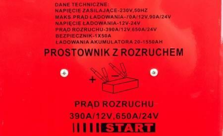 LETA Prostownik z rozruchem 12/24 V (max prąd rozruchu: 390/650A) 21777666