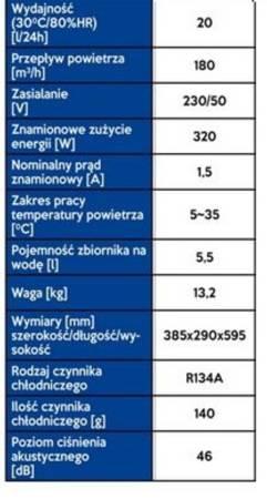 Osuszacz powietrza (wydajność: 20 lit/24/ h, moc 320 W) 15977014