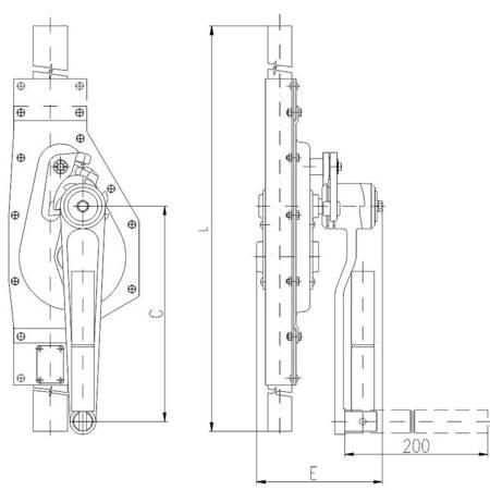 Podnośnik mechaniczny zębaty do kontenerów - wersja podstawowa (udźwig: 2,5 T, wysokość: 580 mm) 22077084