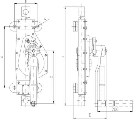 Podnośnik mechaniczny zębaty do kontenerów - wersja ścienna (udźwig: 5 T, wysokość: 360 mm) 22077077