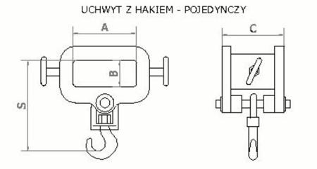 Uchwyt z hakiem (pojedynczy) (3200kg) 2903548