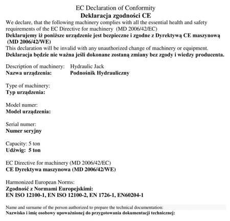 Uniwersalny podnośnik hydrauliczny niskoprofilowy (udźwig: 5 T) 310659