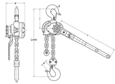 Wciągnik łańcuchowy dźwigniowy (wysokość podnoszenia: 2,5m, udźwig: 1,6 T) 22076842