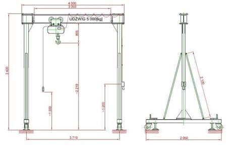 Wciągnik na konstrukcji nośnej-przestawnej (udźwig: 5 T, rozstaw kół jezdnych: 3,7 m, wysokość podnoszenia: 2,2 m) 95877991