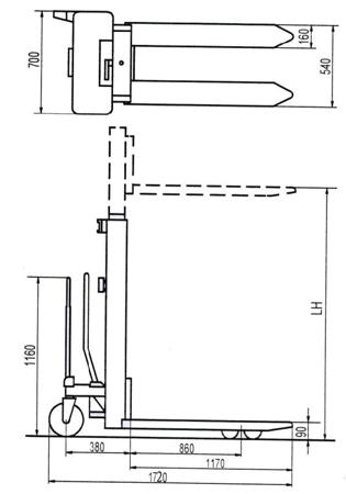 Wózek podnośnikowy ręczny (wysokość podn. maks: 2300mm, udźwig: 1000 kg) 310507